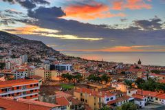 Sunrise clouds over Funchal Portugal royalty free stock photos