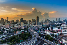 Beautiful skyline of cityscape with highway interchange Royalty Free Stock Photos