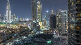 Beautiful skyline of Dubai downtown and Business bay with modern architecture night timelapse. stock video