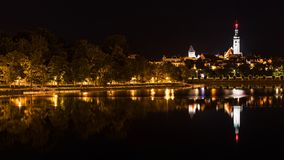 Historic Tabor city and Jordan pond. Night view. South Bohemia, Europe royalty free stock photography