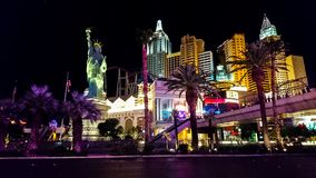 Las Vegas strip lit up at night stock image