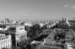 Beautiful skyline of Madrid in monotone Royalty Free Stock Images