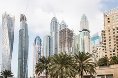 Skyline of futuristic buildings in Dubai, UAE Stock Photography