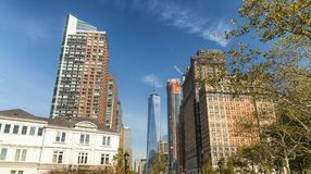 Beautiful skyline of New York City on a sunny autumn day Royalty Free Stock Photos