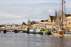 Beautiful skyline with old historical buildings in Haarlem, The Netherlands Stock Photo