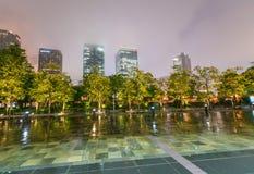 Beautiful skyline of Osaka at night Stock Photos