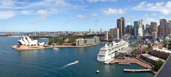 Australia, Sydney, Skyline, Circular Quay, New South Wales. Beautiful skyline of Sydney with Circular Quay, Australia, New South Wales Royalty Free Stock Images