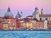Colorful buildings in venice during sunset stock photos