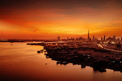 A beautiful skyline view of Dubai, UAE as viewed from Dubai Festival City Royalty Free Stock Photography