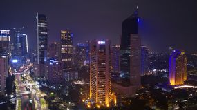 Beautiful skyscrapers in Jakarta city at night. JAKARTA - Indonesia. November 22, 2018: Beautiful skyscrapers in Jakarta city at night time royalty free stock photo