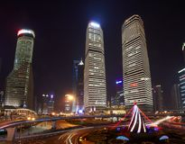 Beautiful skyscrapers,night view city building of Pudong, Shanghai, China. Stock Image