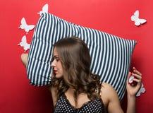 Beautiful sleeping woman in pajamas cami top royalty free stock photo