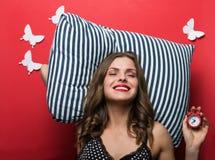 Beautiful sleeping woman in pajamas cami top royalty free stock image