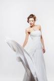 Beautiful slender bride in an elegant dress Stock Photos