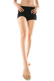 Beautiful slender female legs on a white background Royalty Free Stock Photos