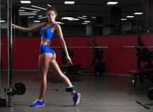 Beautiful slender girl doing exercises in the gym. Beautiful slender brunette girl in blue sportswear doing exercises in the gym. Concept of sport and a healthy stock photos