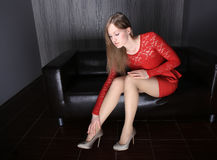 Beautiful slender girl in red dress Royalty Free Stock Photos
