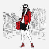 Beautiful, slender girl in shorts, jacket and sneakers. Fashion clothes. Vector illustration. Stock Image