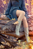 Beautiful slender Legs in the autumn forest royalty free stock photo