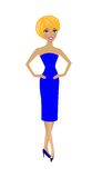 Beautiful  slender woman in blue dress Stock Image