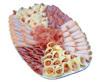 Beautiful sliced food arrangement Royalty Free Stock Photos