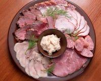 Beautiful sliced food arrangement. Stock Photos