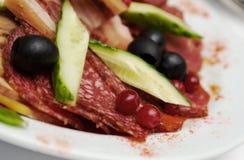 Beautiful sliced food arrangement of meat Stock Photo