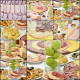 Colod cuts platters collage. Pic Beautiful Sliced Food Arrangement , collage stock photography
