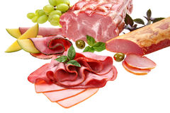 Beautiful sliced food arrangement Royalty Free Stock Images