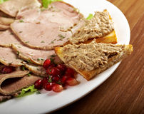 Beautiful sliced meat arrangement Royalty Free Stock Photography
