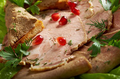 Beautiful sliced meat arrangement Royalty Free Stock Photo