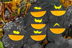 Beautiful slices of pumpkin with a mustache, in the street Royalty Free Stock Photos