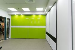 Beautiful sliding door closets. With television of company called `mydoor` who made several new international patents in this industry stock images