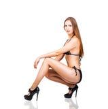 Beautiful slim bikini woman on high heels Stock Photos