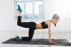 Beautiful slim brunette  doing some push ups a the gym Royalty Free Stock Photography