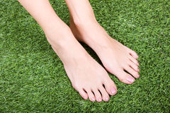 Beautiful slim female feet on green grass Royalty Free Stock Photography