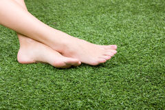 Beautiful slim female feet on green grass Royalty Free Stock Photo
