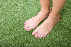 Beautiful slim female feet on green grass Royalty Free Stock Images