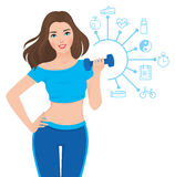 Beautiful slim girl and components of its success infographics Royalty Free Stock Images