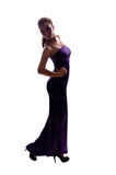Beautiful slim girl in long evening dress Stock Photography