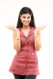 Beautiful slim girl with nice hands actions. In white background Royalty Free Stock Images