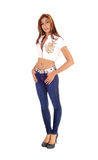 Beautiful slim lady in jeans. Royalty Free Stock Images