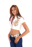 Beautiful slim lady in jeans. Royalty Free Stock Image