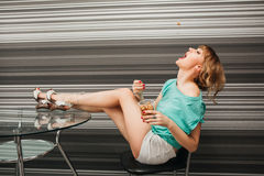 Beautiful slim sexy girl in the kitchen Royalty Free Stock Photography