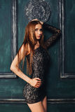 Beautiful slim sexy girl with long hair in short Royalty Free Stock Photography
