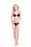 Beautiful slim woman in bikini with towel Royalty Free Stock Photos