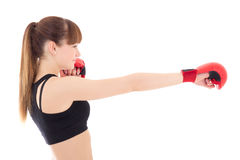 Beautiful slim woman in boxing gloves isolated on white Stock Photography