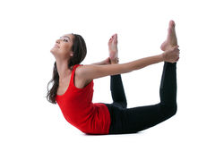 Beautiful slim woman doing stretching in studio royalty free stock image