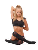 Beautiful slim woman doing yoga. Royalty Free Stock Photo