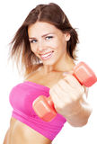 Beautiful slim woman with dumbbells Royalty Free Stock Photo